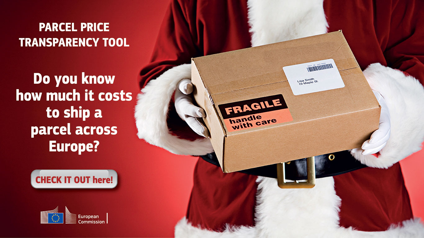 This image is a banner with a Santa who holds a postal parcel in his hands. On the left side there is a text: Parcel price transparency tool. Did you know how much it costs to ship a parcel across Europe? At the bottom there is a button with this label: Check it out here! By clicking on the image you'll be redirected to the website operated by the European Commission (EC). At the very bottom, we see the logo of the EC.